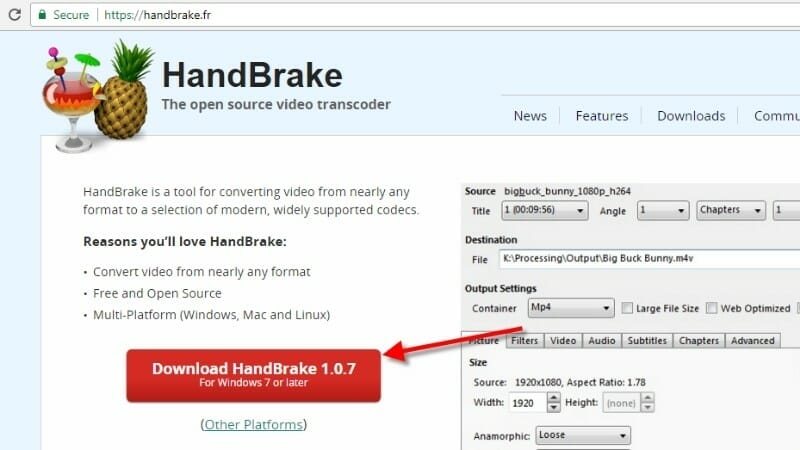HandBrake Download for Windows