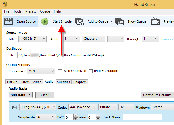 HandBrake start encoding button