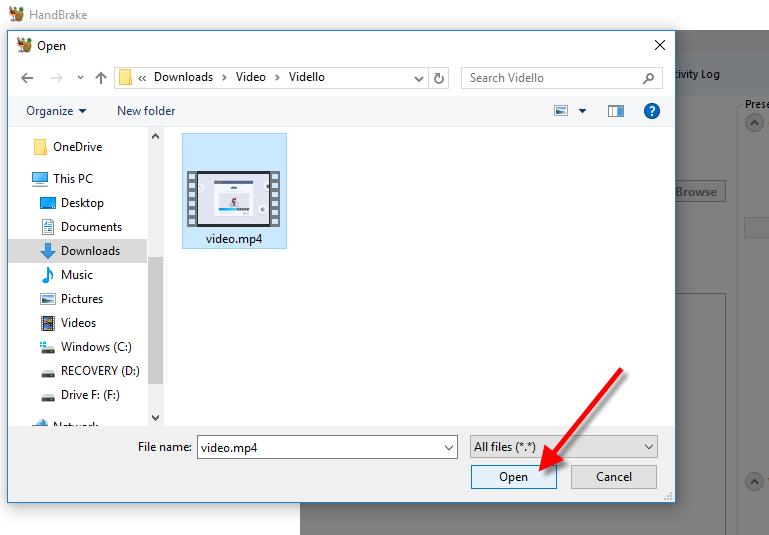 HandBrake video selection