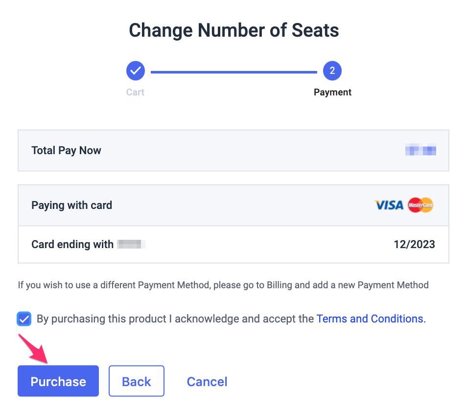 Payment info MUA confirmation