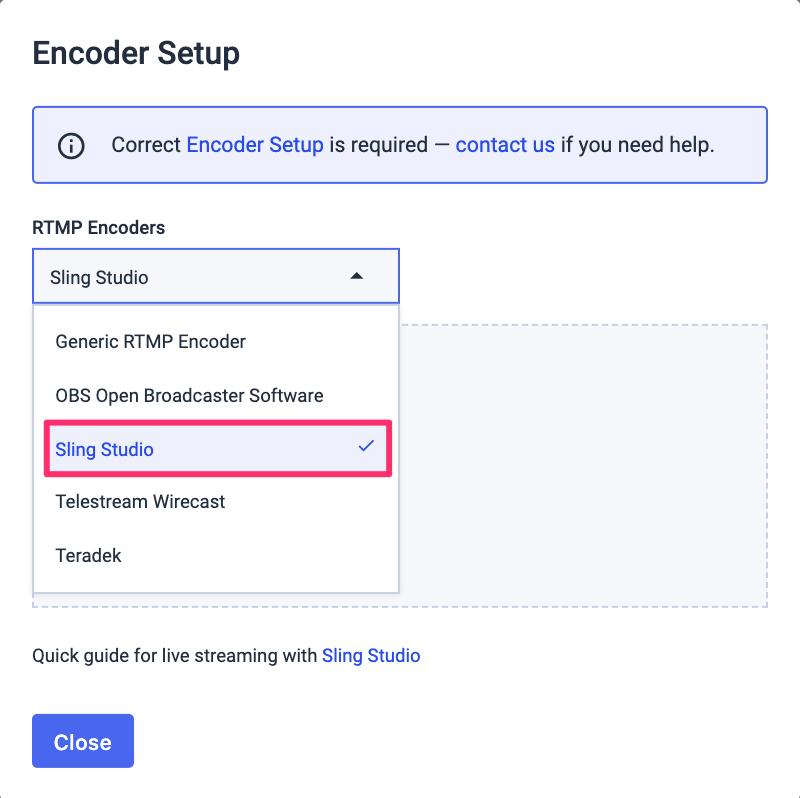 Sling Studio selection encoder setup