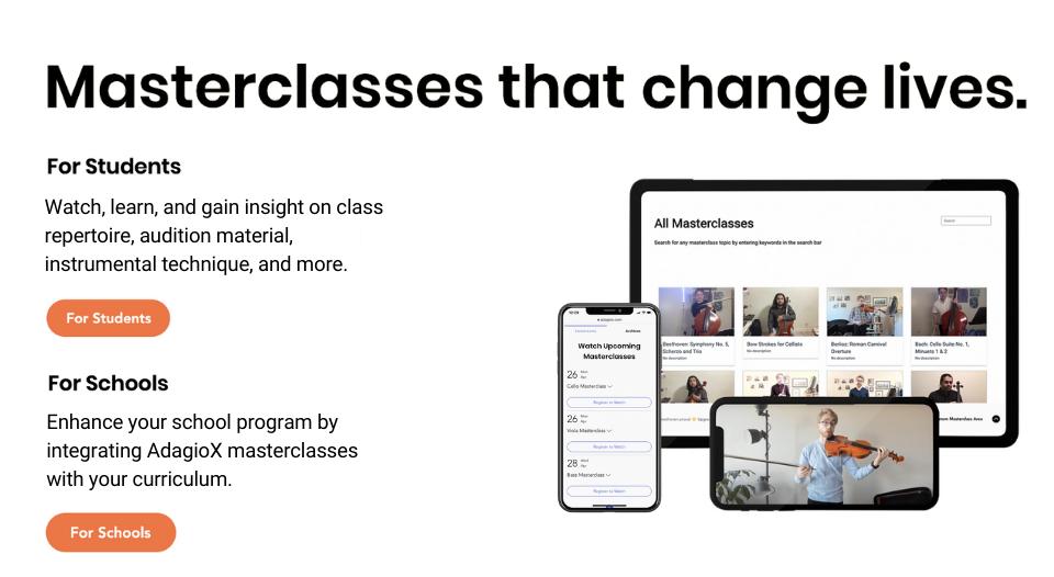 AdagioX Masterclasses for students and schools - Dacast platform